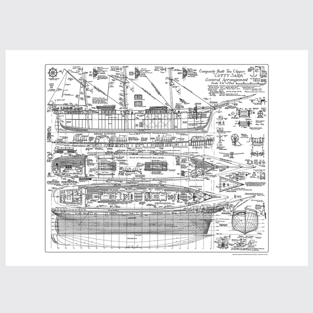 Cutty Sark General Arrangement Plan 50 x 70cm
