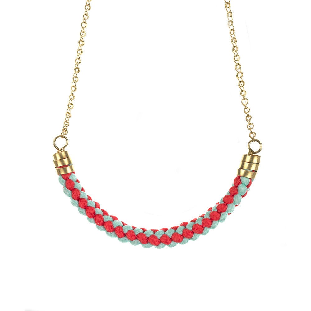 Coral & Mint Rope Necklace