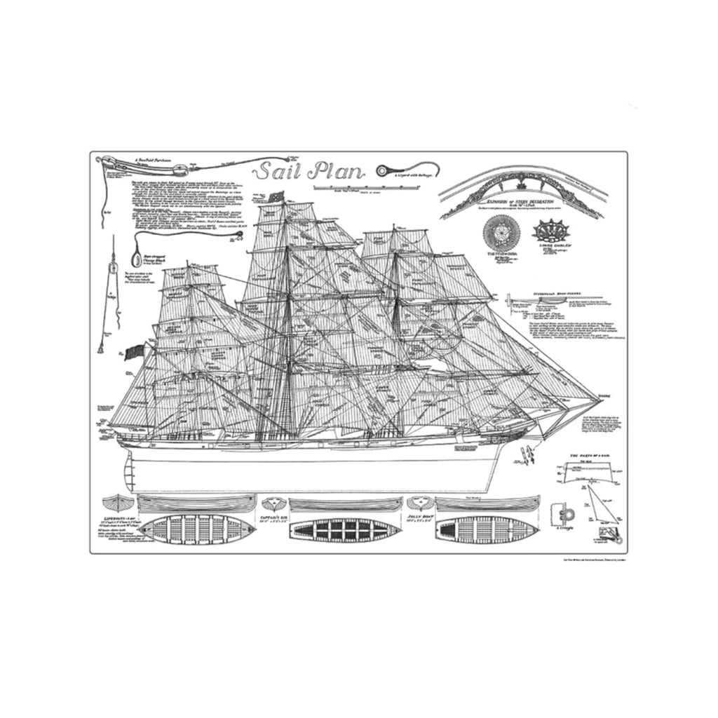 Black and white cutty sark sail plan poster