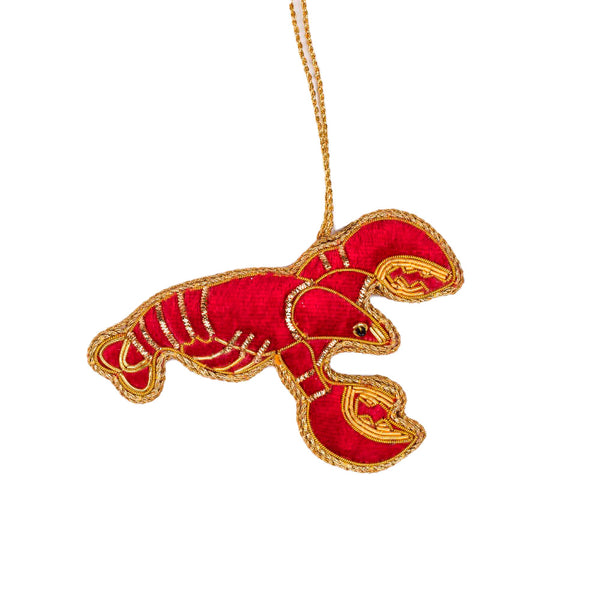 Embroidered Lobster Christmas Decoration