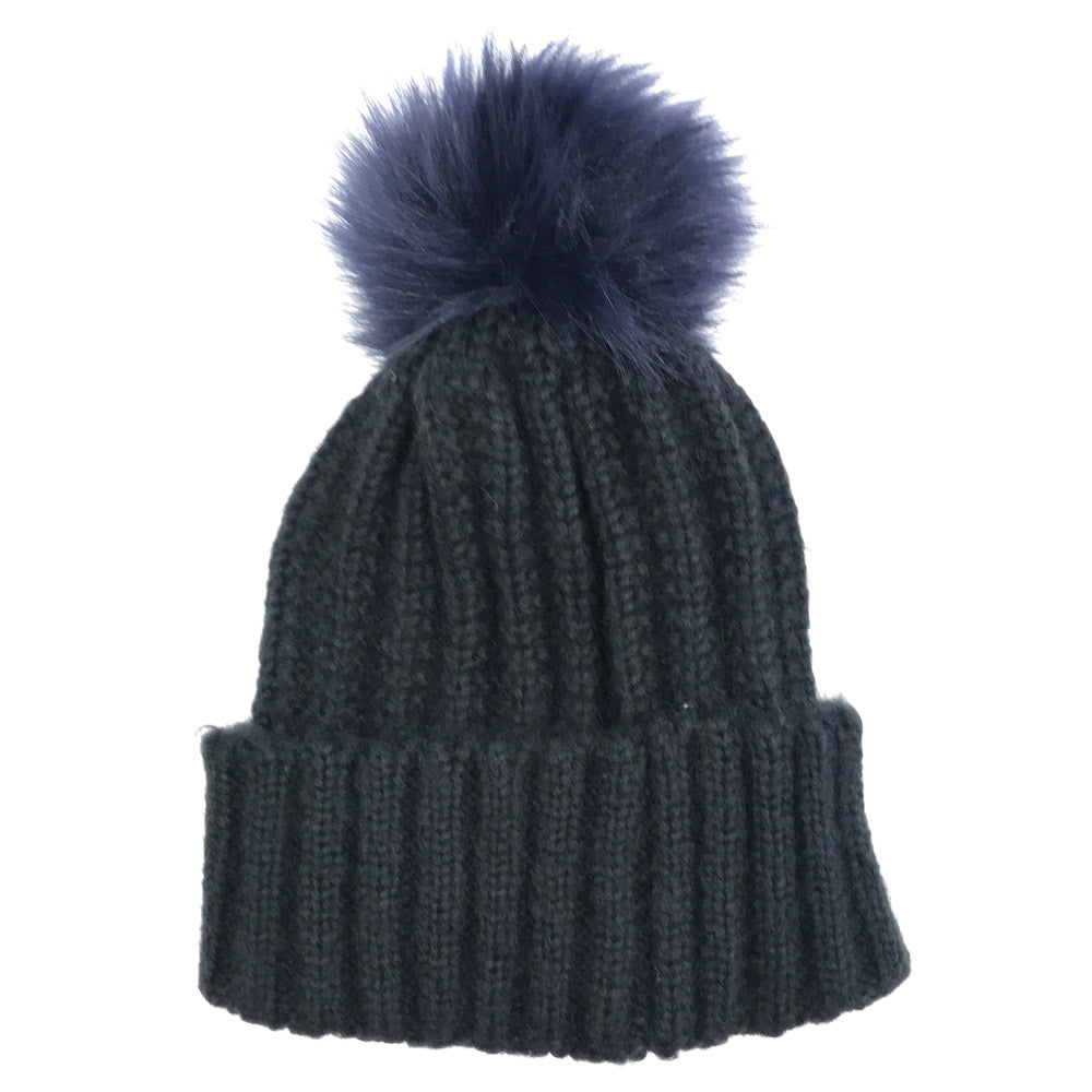 Faux Fur Pom Pom Cable Knit Beanie Navy  c5b450636032