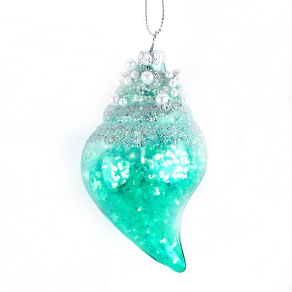 Glass Pearl Shell Decoration green