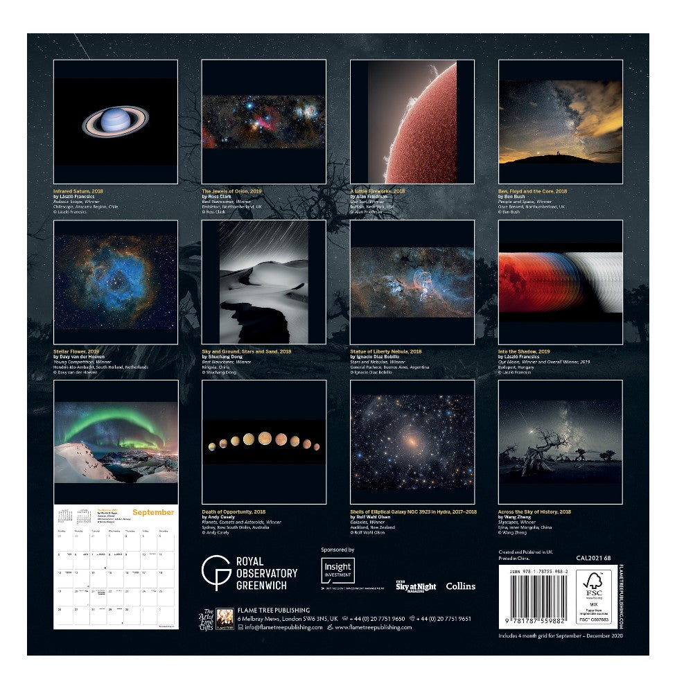 Insight Investment Astronomy Photography of the Year Calendar 2021 back