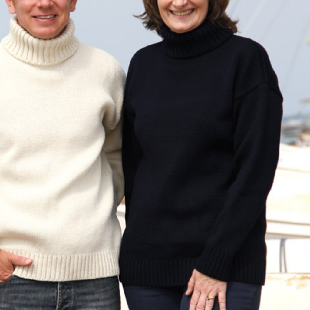 woman and man stood wearing submariner sweaters