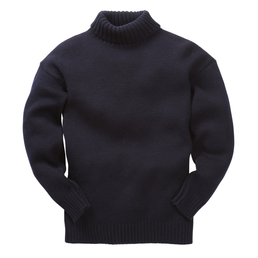 Navy knitted wool rollneck submariner sweater