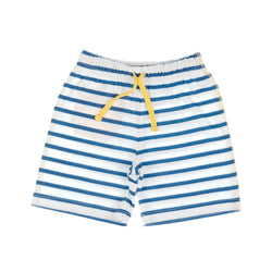 Kids Cream and Navy Striped Shorts, front