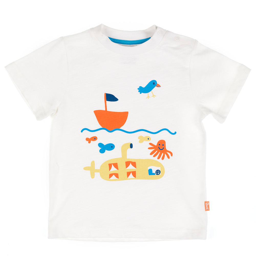 White with yellow submarine and orange boat