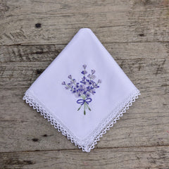White lace handkerchief embroidered with lavender motif