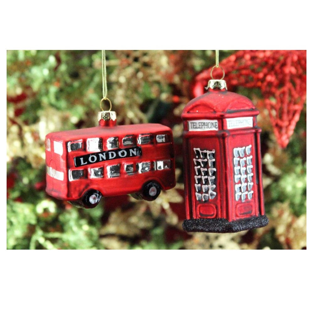 Glass London Bus Christmas Decoration