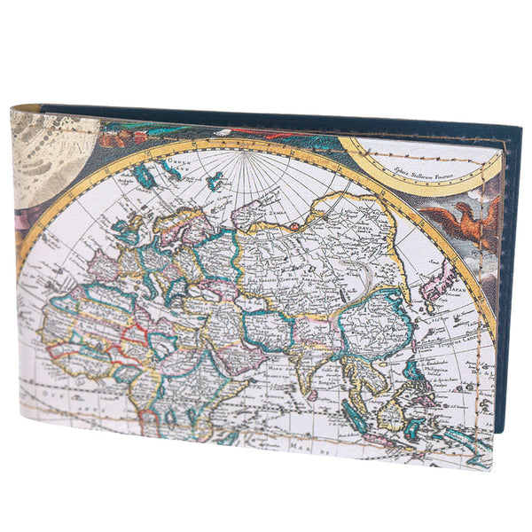 World map print travelcard holder