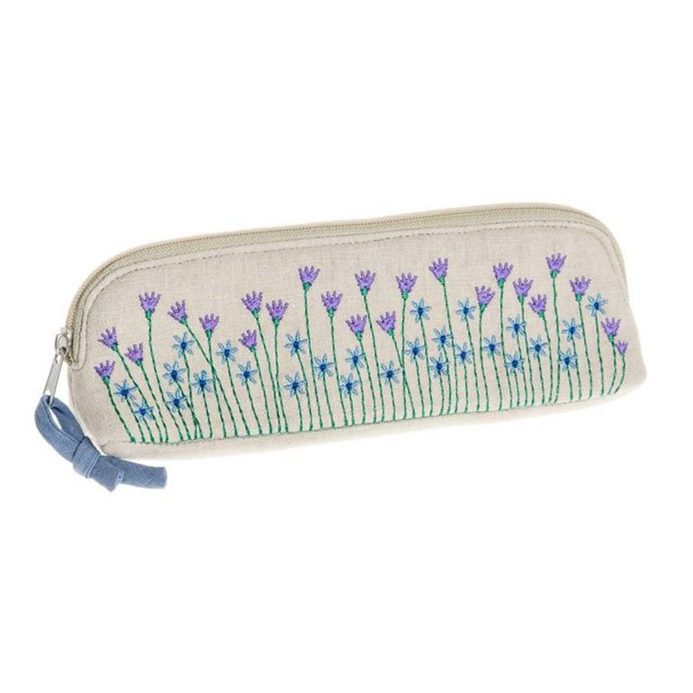 Meadow embroidered cosmetic bag