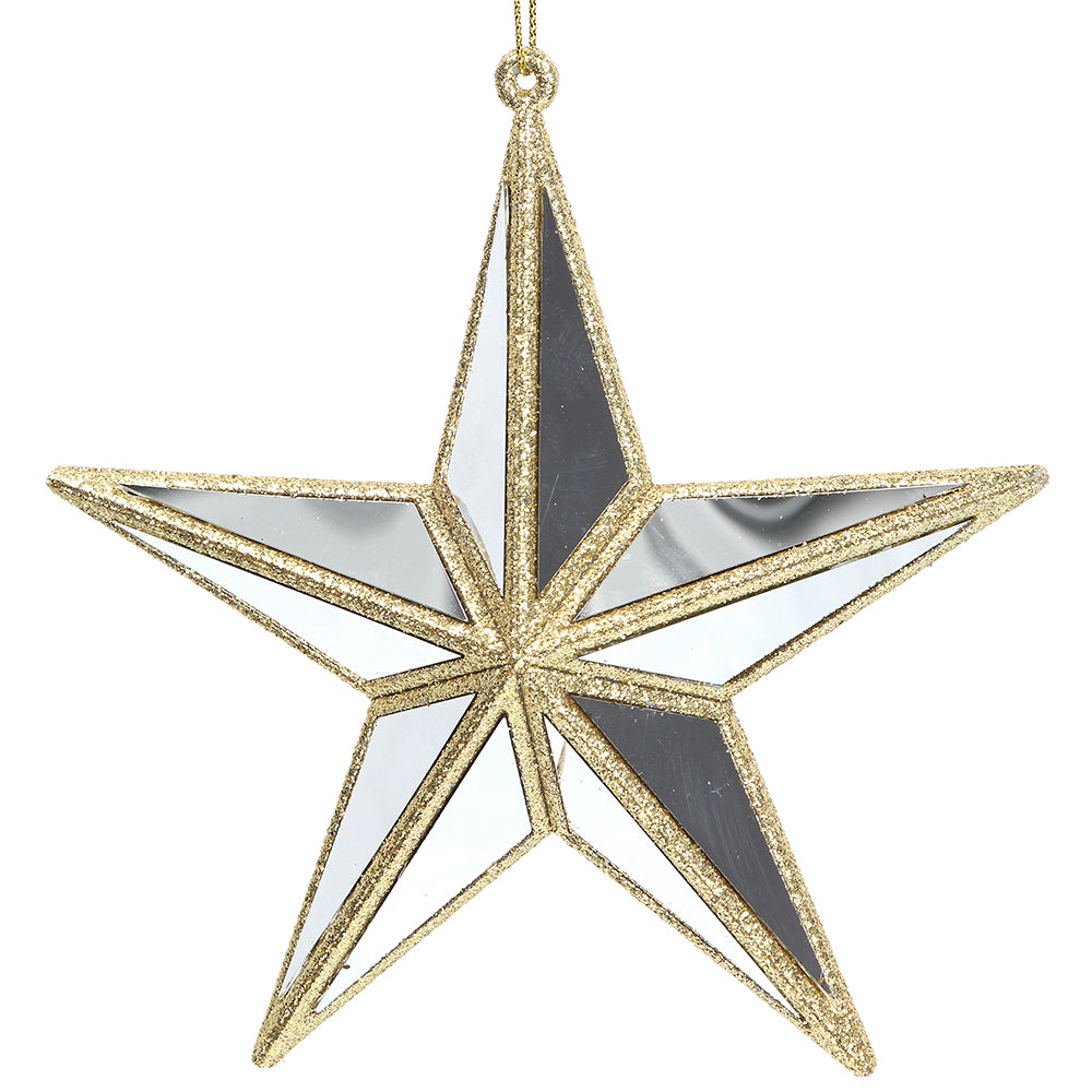 Gold Glitter Mirror star Christmas decoration