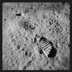 Moon footprint postcard