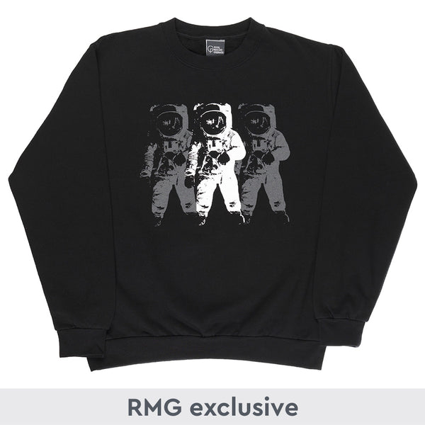 Black Moon Landing sweatshirt with White Astronaut print