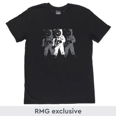Black Moon Landing T-shirt with White Astronaut print