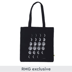 Black cotton tote bag with moon phase print