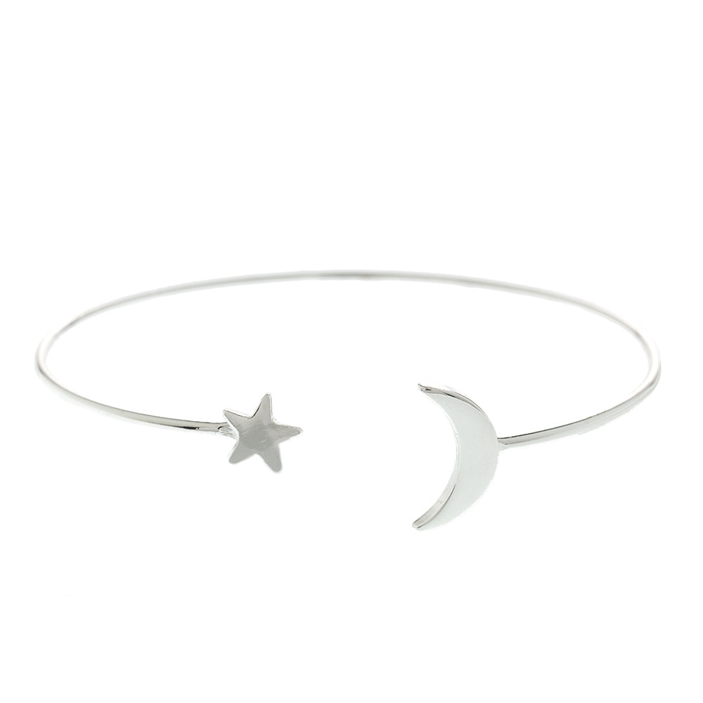 Silver Moon and Star Bangle