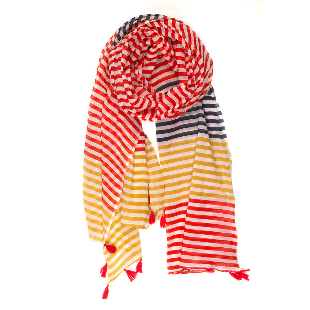 Mustard, Red & Navy Stripe Scarf