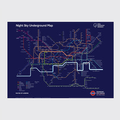 Dark blue night sky underground map limited edition print on grey background
