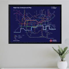 Night Sky Underground Map Print framed on wall