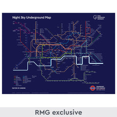 Dark blue night sky underground map limited edition print