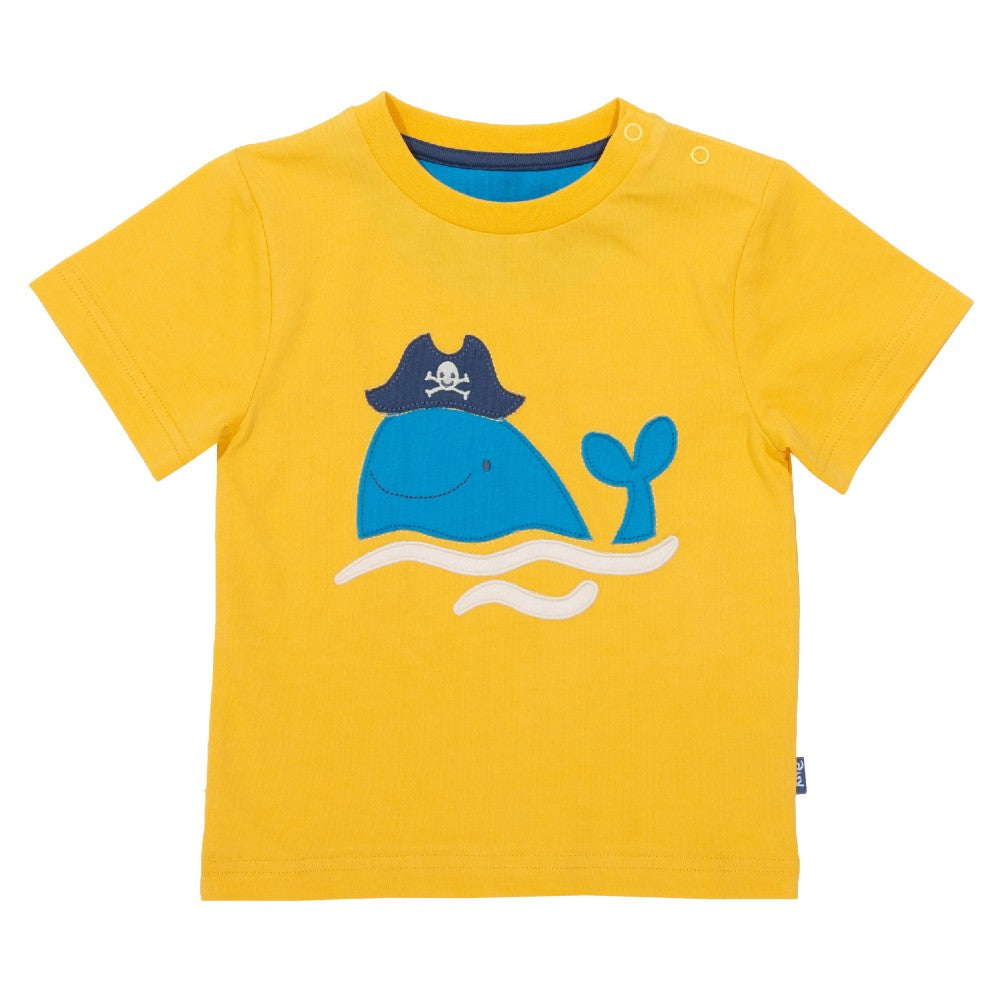 Organic Cotton Kids Pirate Whale T-Shirt front