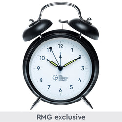 Twin Bell Alarm Clock, black with white face and small Royal Observatory Greenwich branding