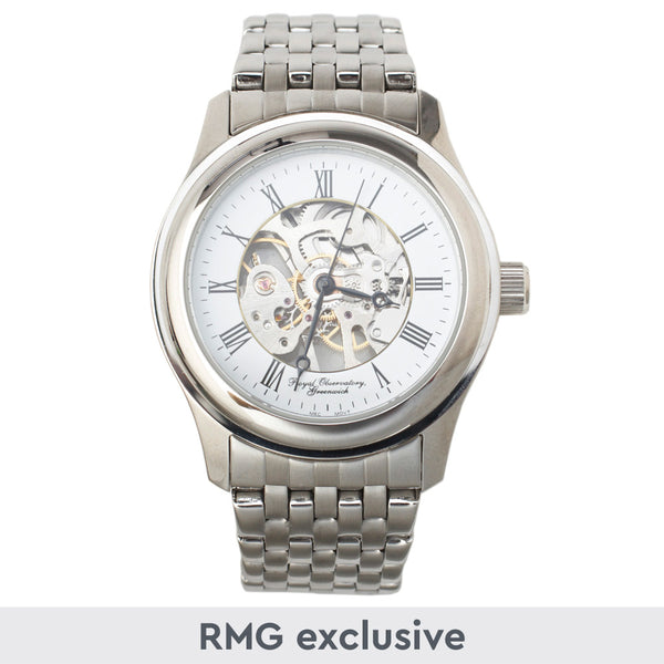 Large Chrome Circular Skeleton Watch