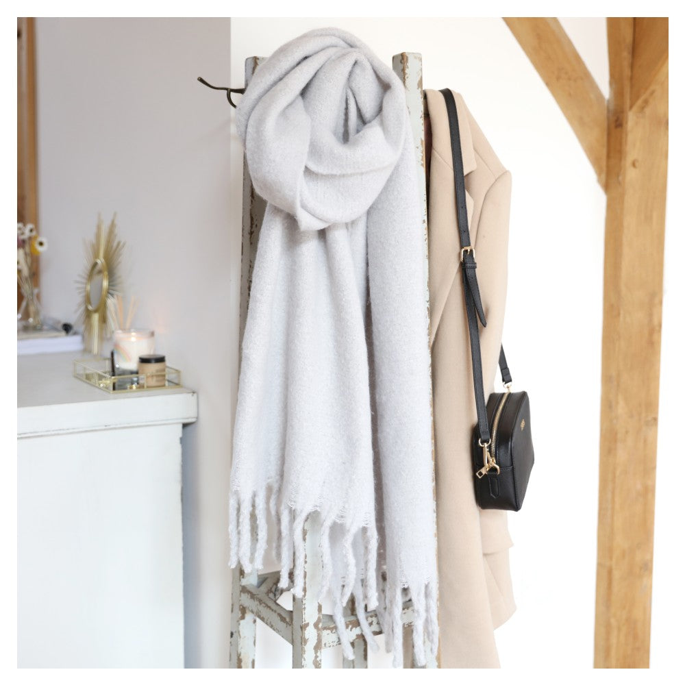 recycled polyester long scarf soft grey