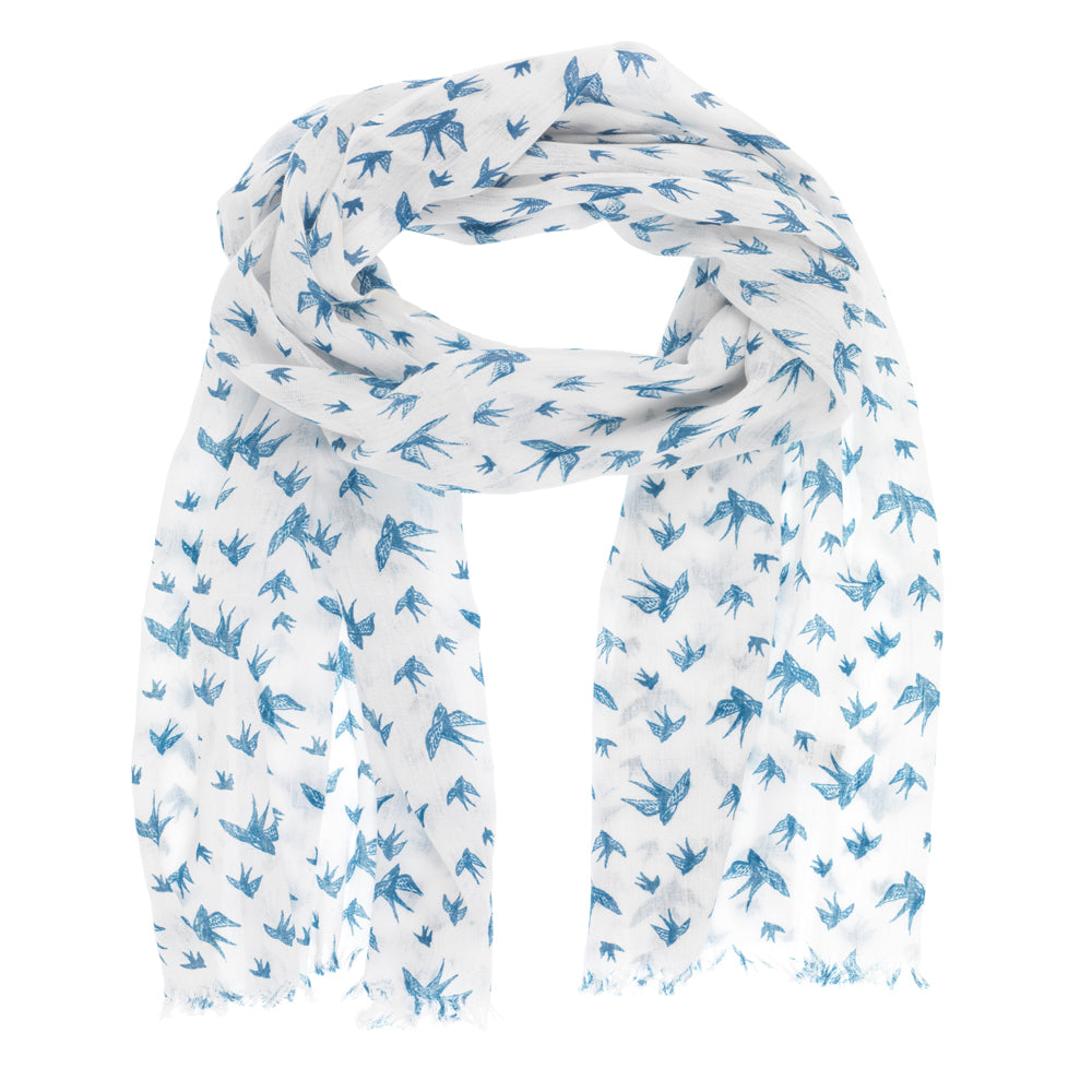 White Bird Print Scarf