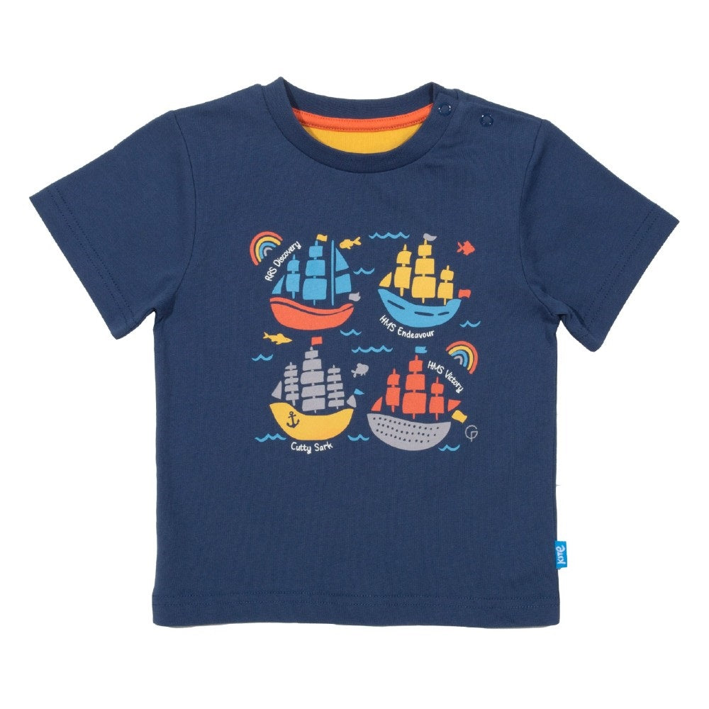 Organic Cotton Kids Ship Ahoy TShirt front