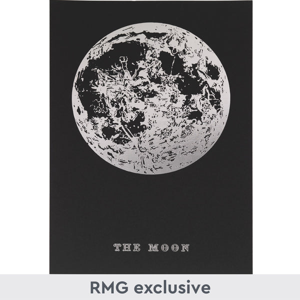 Silver Moon Foil Print on black background with