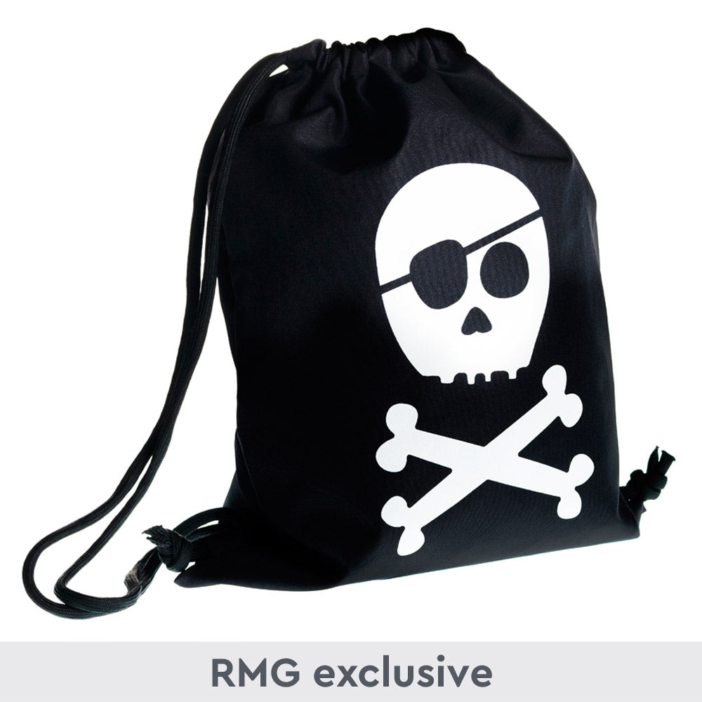 Black drawstring bag with cartoon skull and crossbones