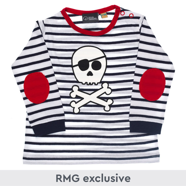 Navy and white stripe long sleeve kids size t-shirt with cartoon skull & crossbones