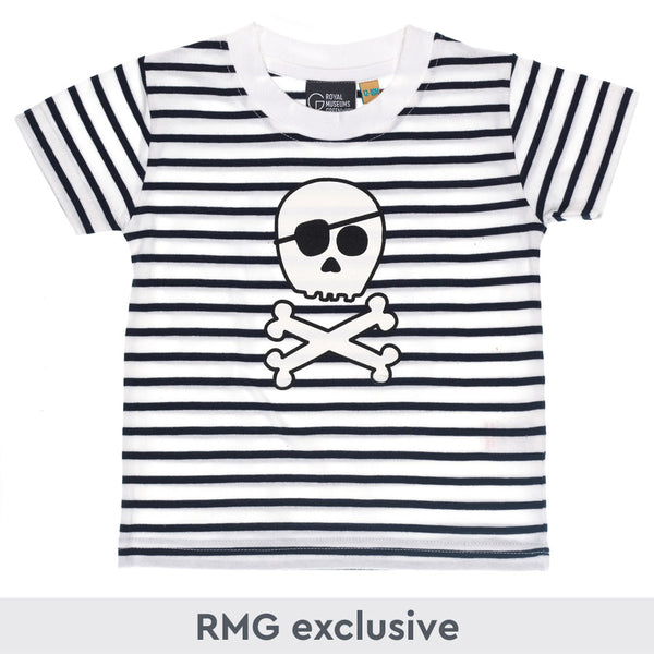 Kids size navy and white striped t-shirt with cartoon skull and crossbones