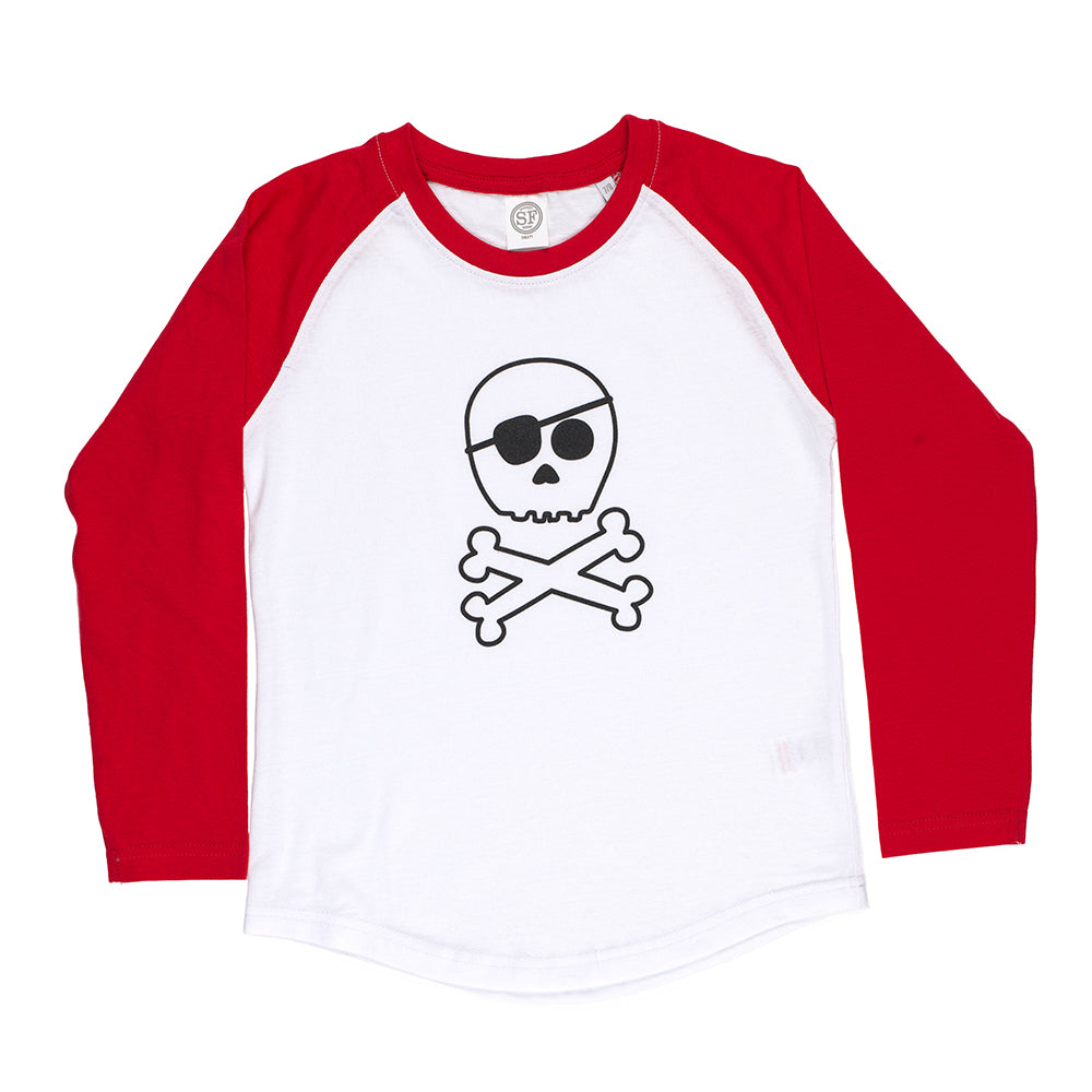 Skull & Crossbones Long Sleeve Baseball T-Shirt