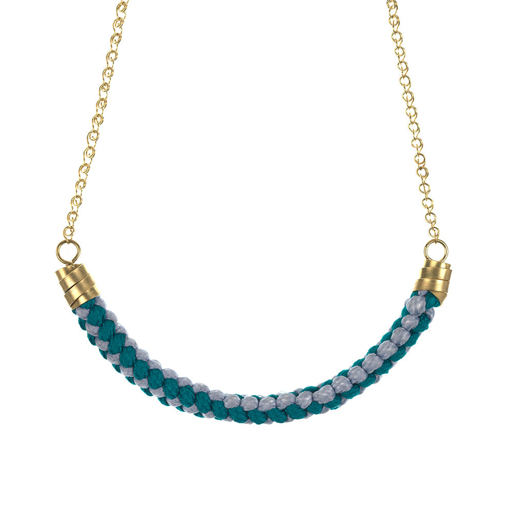 Teal & Grey Rope Necklace