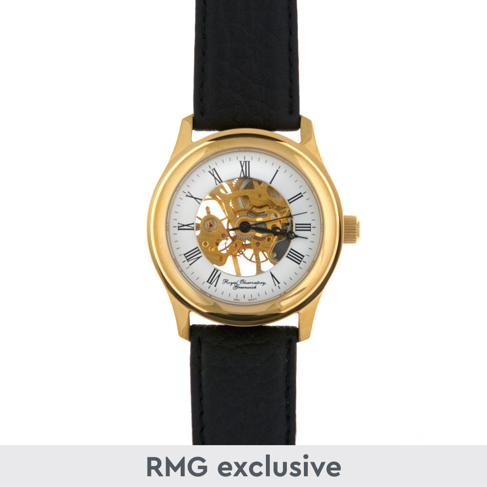 Gold plated skeleton watch with black leather strap