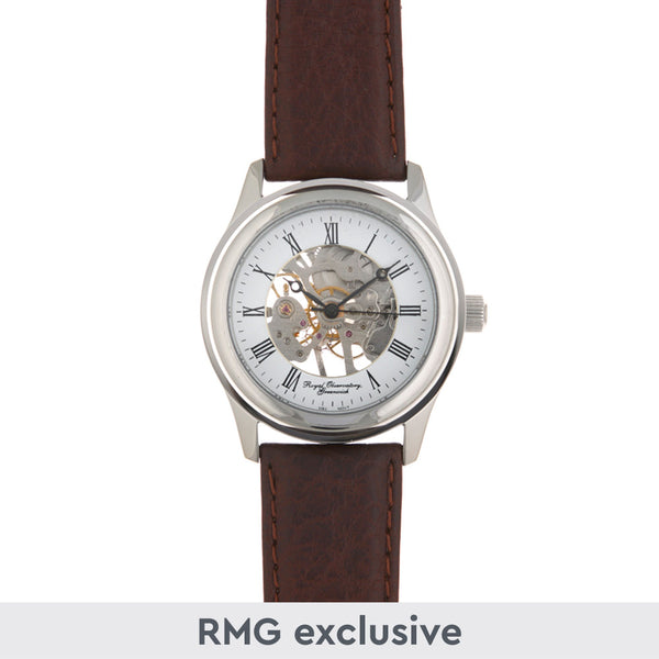 Chrome Skeleton Watch with Brown leather strap