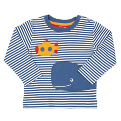 Organic Cotton Whale and Submarine Striped Long Sleeved Top