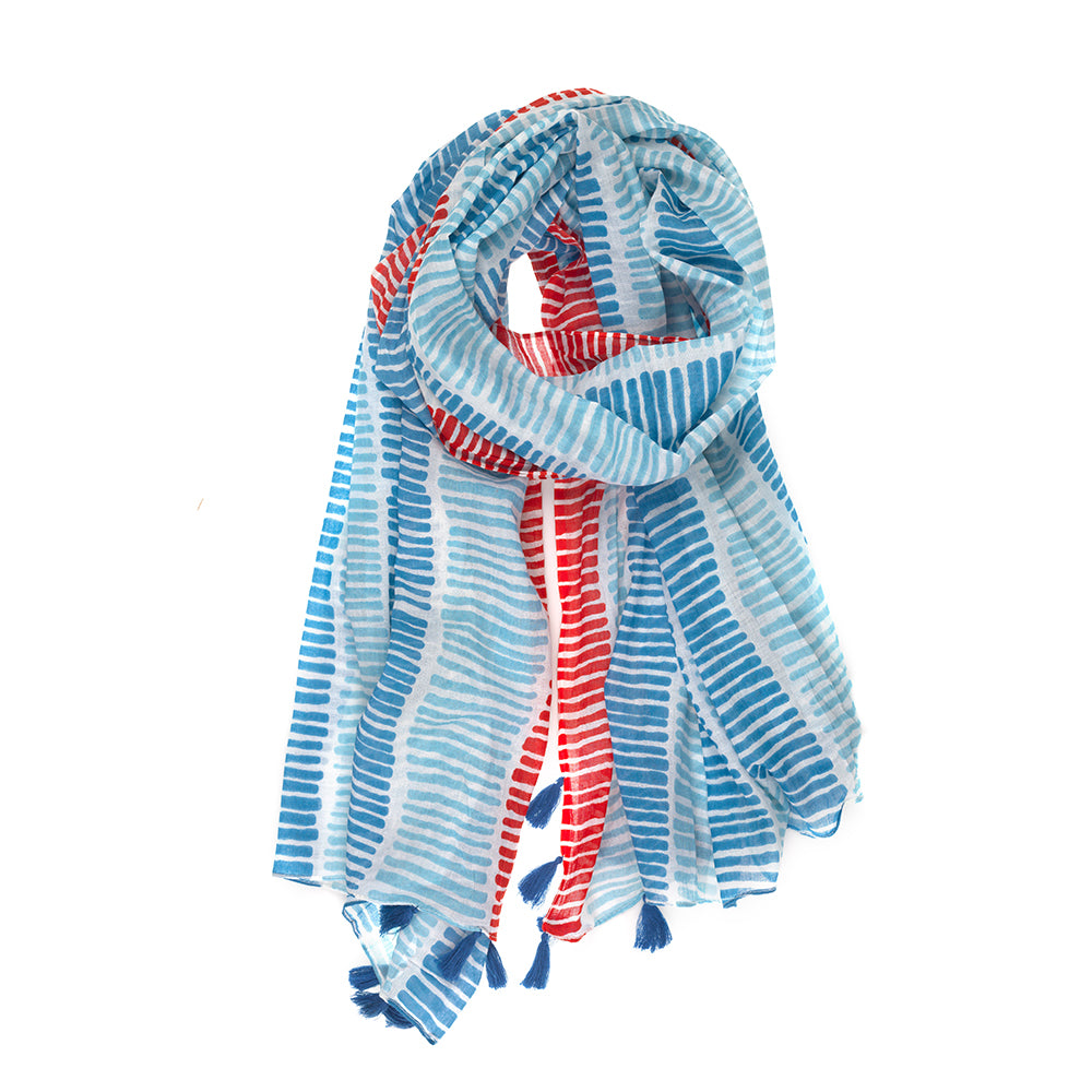 100% Cotton White, Red & Blue Line Print Scarf