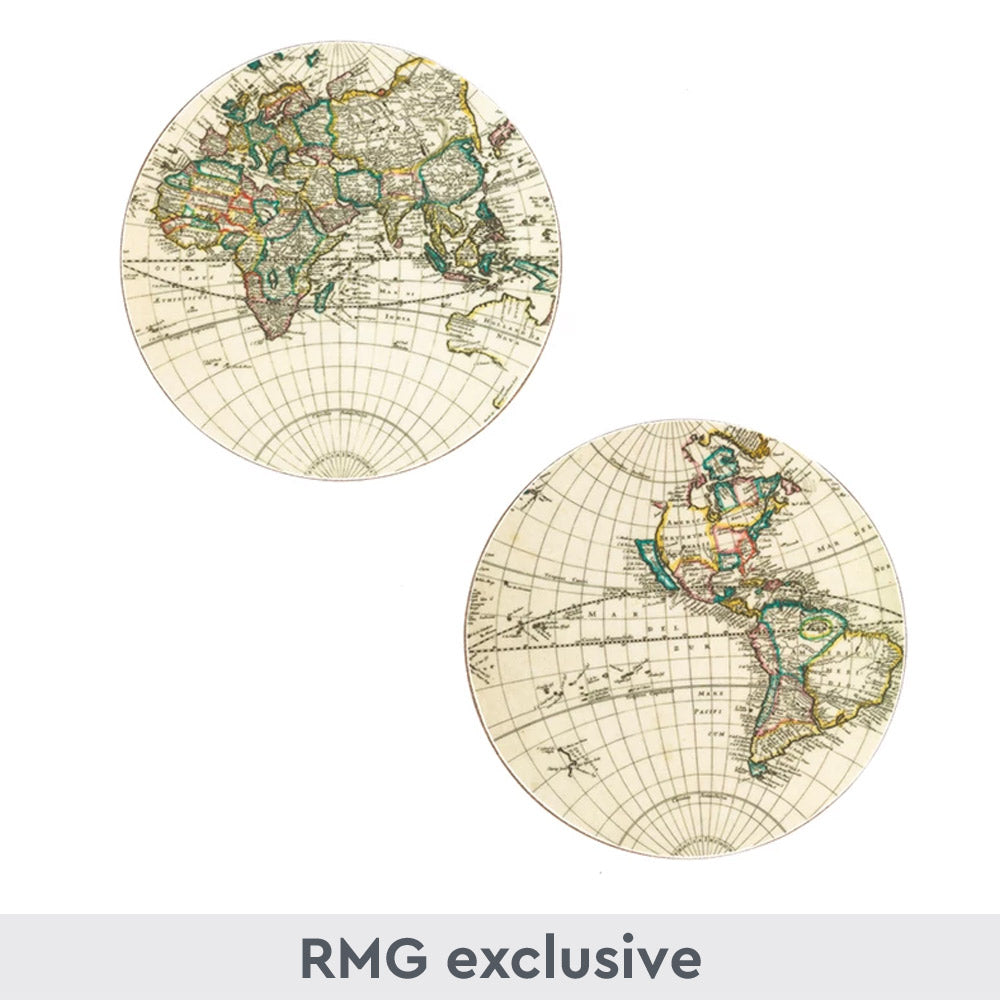 Set of 2 World Map Coasters