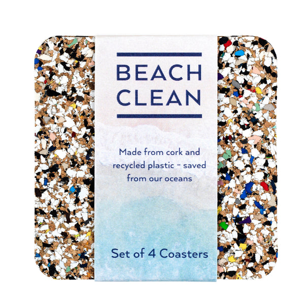 beach clean multicoloured recycled plastic coasters