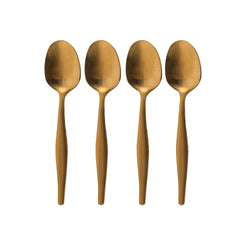 Brushed Gold Set of 4 Tea Spoons