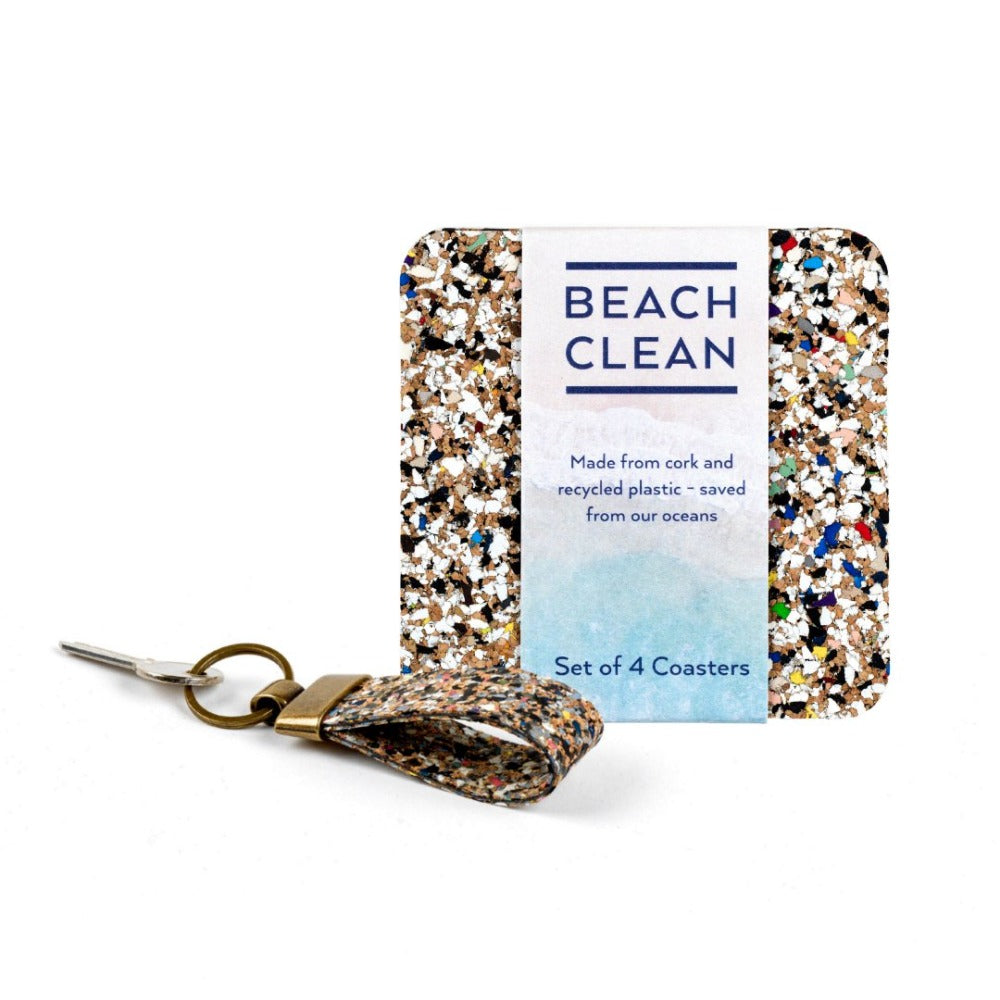 beach clean multicolour keyring next to beach clean plastic coaster set