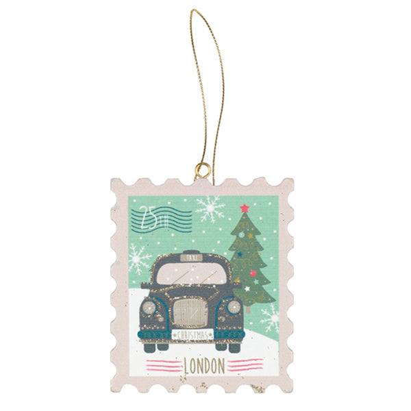 London Wooden Postage Stamp Decoration