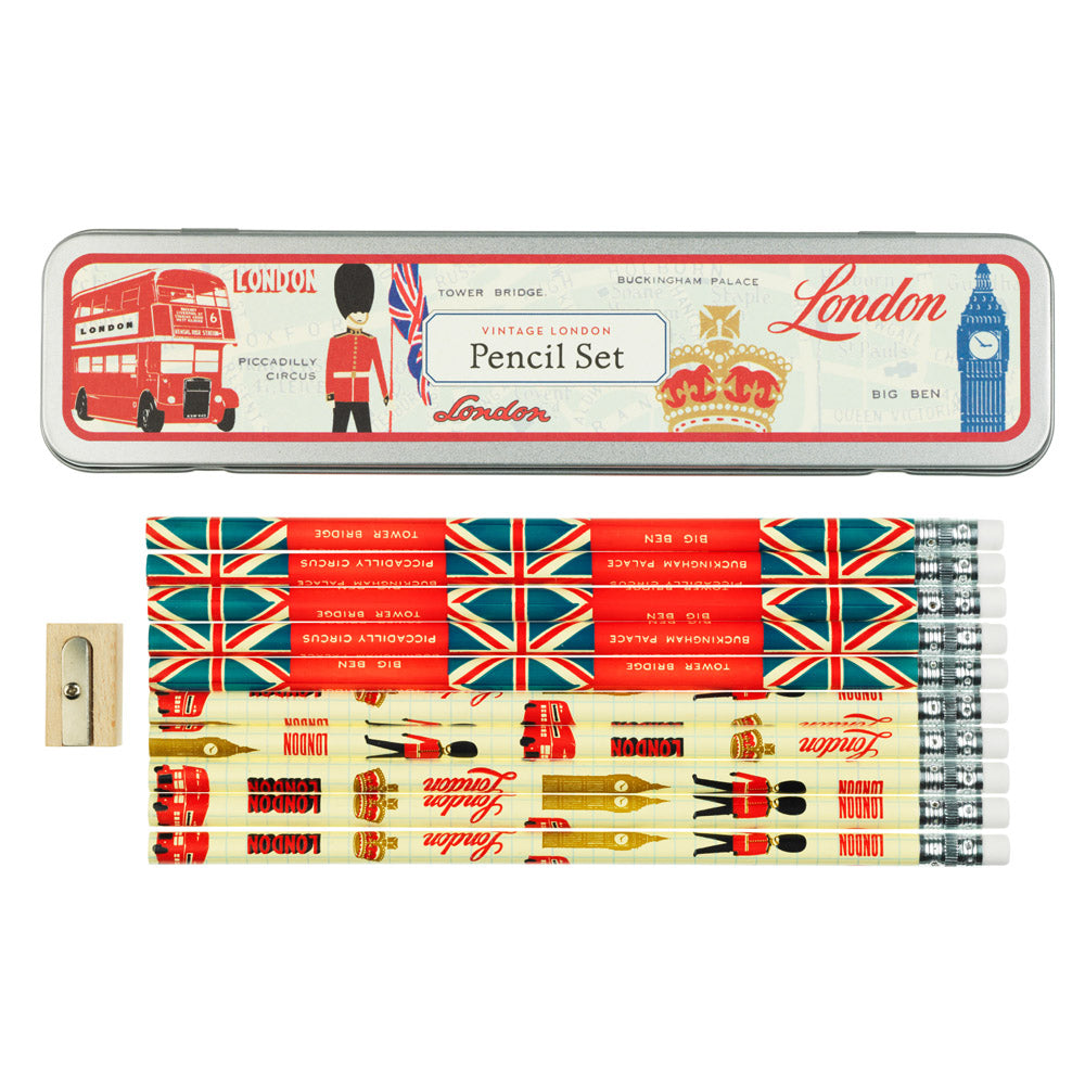 Vintage London Pencil Set in Tin