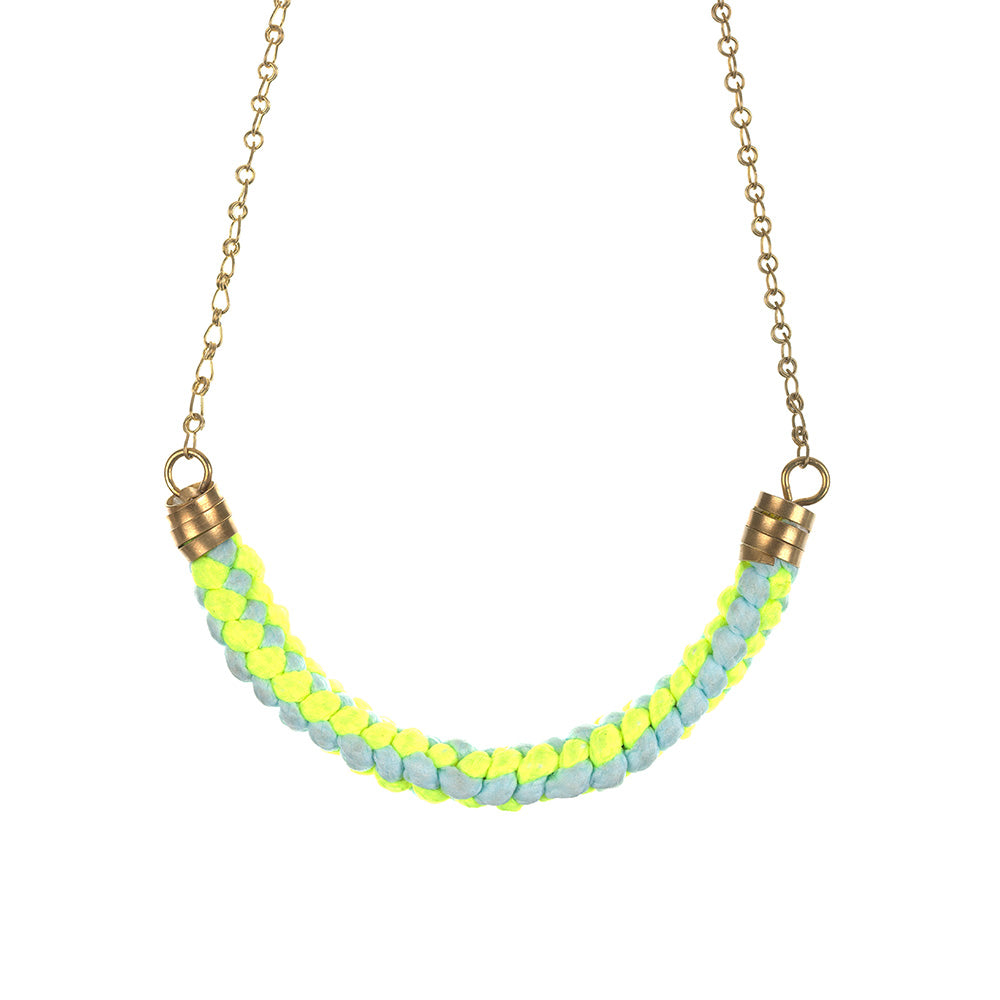 Neon & Pale Blue Rope Necklace