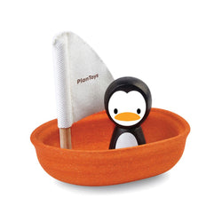 Wooden Orange Sailing Boat Bath Toy with Penguin