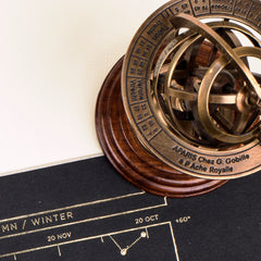 Small armillary sphere laid on top of star map
